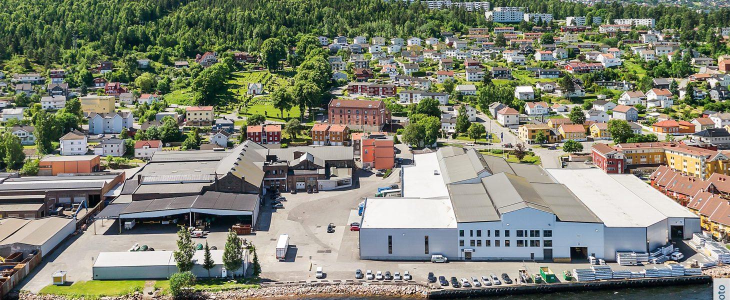 Støperigata 7, Tangen Næringspark, dronebilde, næringseiendommer, Brække Eiendom